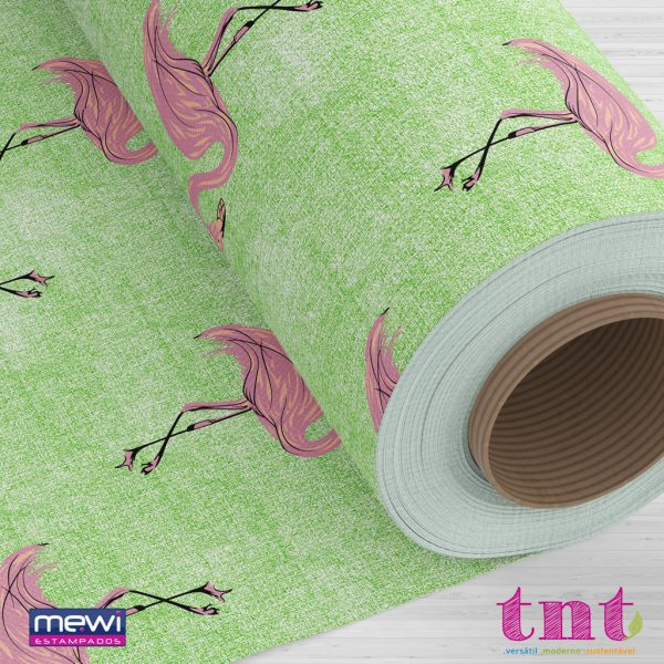 Estampa Flamingo com fundo verde