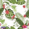 Estampa Folhagem Verde com flores cor de rosa